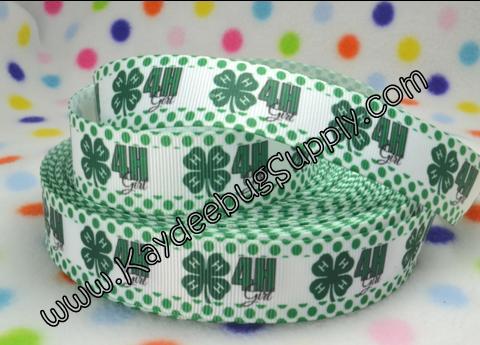 4H Girl - 7/8 inch-4h girl, 4h, 4-h, green, polka, dot, dots