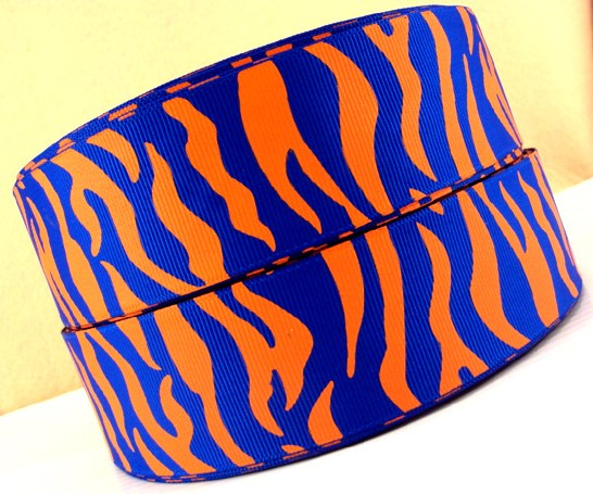 Animal Print - Zebra Stripe - Orange & Blue - 1.5 inch-animal, print, zebra, stripe, tiger, tigers, detroit, auburn, boise, state, bengals, cincinnati, illinois, illini, cheer, blue, yellow, team, sport, teams, sports, okc, oklahoma, city, thunder, florida, gators