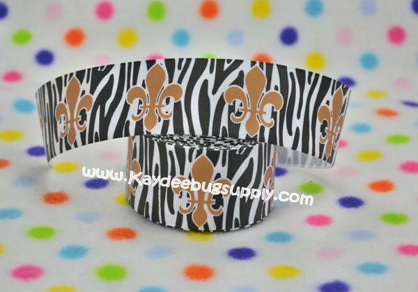 Fleur De Lis - Black & White Zebra Print - 1.5 inch- team, teams, sports, foot, ball, football, NFL, ribbon, team, teams, sport, sports, new, orleans, orlean, saint, saints, foot, ball, football, black, gold, fleur, de, lis, fleur de lis, NFL, zebra, stripe, stripes, gold, black, white,