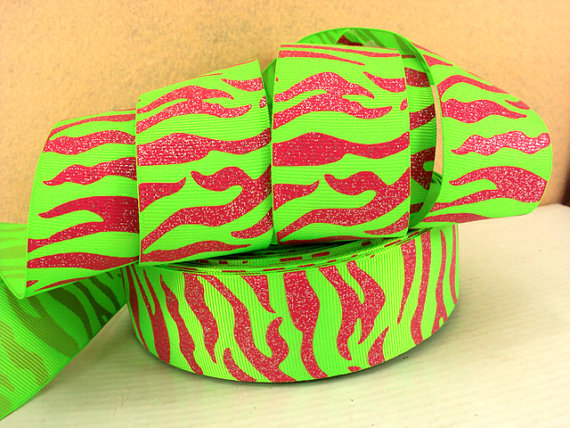 Animal Print - Zebra Stripe - Pink on Green - GLITTER - 1.5 inch-animal, print, zebra, stripe, ribbon, team, sport, teams, sports, cheer, girly, pink, green, glitter, AKA, aplha, kappa, golf, preppy, oilfield, daddy, dance, 38mm, 38 mm,