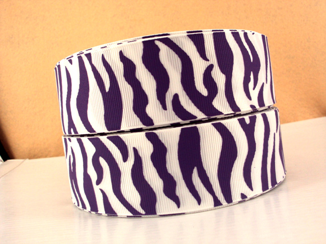 Animal Print - Zebra Stripe - Purple on White - 1.5 inch-animal, print, zebra, stripe, ribbon, team, sport, teams, sports, ECU, eastern, carolina, university, LSU, minnesota, vikings, clemson, tigers, phoenix, suns, cheer, purple, white, lakers, baltimore, ravens,