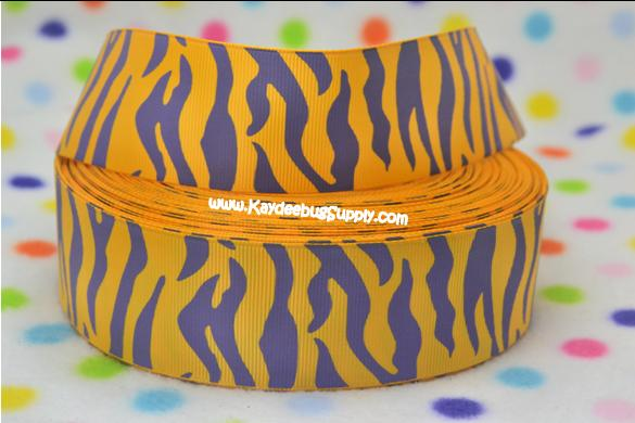 Animal Print - Purple on Yellow - 1.5 inch-LSU, tigers, ECU, JMU, james, madison, lakers, eastern, carolina, animal, print, zebra,
