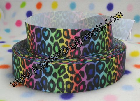 Leopard Print - Black on Rainbow - 1 inch-animal, print, leopard, cheetah, rainbow, multi, multicolor