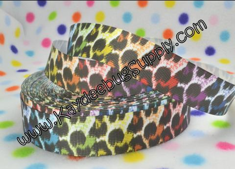 Leopard Print - Rainbow on WHITE - 1 inch-animal, print, leopard, cheetah, rainbow, multi, multicolor