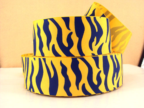 Animal Print - Zebra Stripe - Blue & Yellow - 1.5 inch-animal, print, zebra, stripe, west, virginia, mountaineers, cheer, blue, yellow, team, sport, teams, sports, michigan, wolverines, ucla, san, diego, chargers, lions, tigers, school, pride, spirit, mascot, cheer, cheerleader