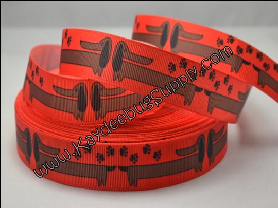 Weiner Dog - Dachshund - RED - 7/8 inch-dog, collar, leash, collars, leashes, key, fob, pink, weiner, dachshund, pet, shelter,  red