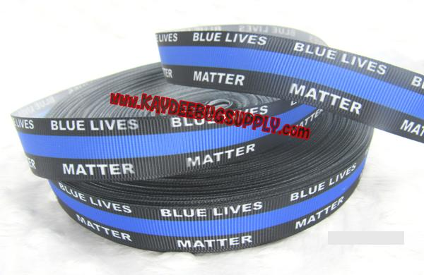Blue Lives Matter - 7/8 inch-police, support, law, enforcement, law enforcement, thin blue line, police lives matter, lives, black, all, blue, blue lives matter, respect the blue, support blue lives, blue lives grosgrain, blue stripe, blue stripe ribbon, back the blue, all lives matter, black lives matter,