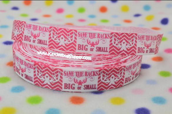 Breast Cancer Awareness - Save the Racks Big or Small - 7/8 inch-breast, cancer, pink, ribbon, october, awareness, month, fundraiser, save, racks, buck, doe, head, country, girl, cow, cowgirl