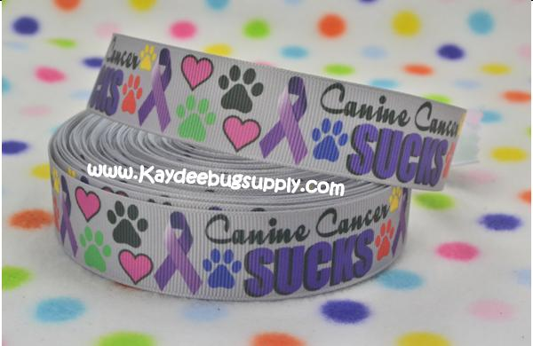Canine Cancer Sucks - Purple Ribbon - 7/8 inch-down, syndrome, blue, yellow, bird, ribbon, cancer, awareness, month, peace, love, cure, support, fundraiser, canine, collar, dog, suck, sucks, paw, paws, puppy, Purple, print, prints,