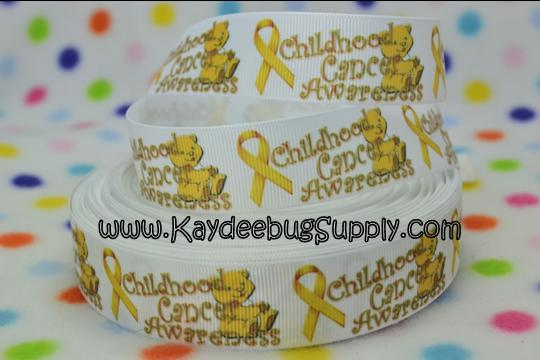 Yellow Ribbon - Childhood Cancer Awareness - Teddy Bear - 1 inch-support, awareness, fight, cancer, yellow, ribbon, leukemia, teddy, bear, kid, childhood, child,