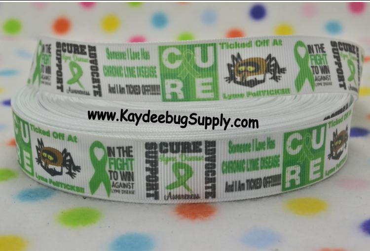Lyme Disease Awareness - 7/8 inch-awareness, support, cure, Lyme, disease, tick, ticks, green, ribbon