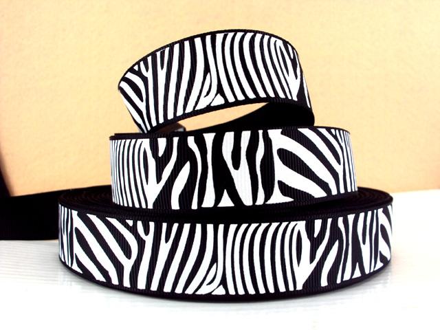 Animal Print - Zebra Stripe - White on Black- 7/8 inch-animal, print, zebra, stripe, ribbon, team, sport, teams, sports, cheer, black, white, dance, 22mm, 22 mm,