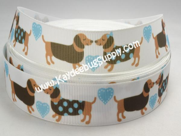Weiner Dog - Dachshund - Blue & Brown- 1 inch-dog, collar, leash, collars, leashes, key, fob, pink, weiner, dachshund, pet, shelter,
