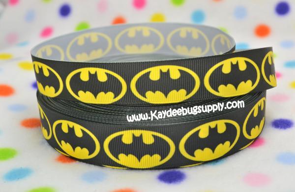 Batman Logo BLACK - 7/8 inch ( 22mm )-batman, super, hero, superhero, bat, man, logo, joker, boys, boy, ribbon