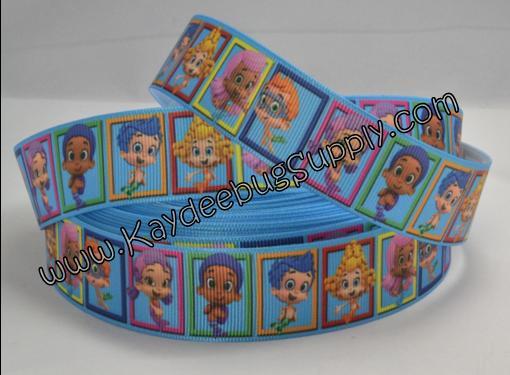 Bubble Guppies - Blue Background - 1 inch-ribbon, nick, jr, jr., nickelodeon, bubble, guppies, fish, orange, guppy, water, nemo, boys, boy