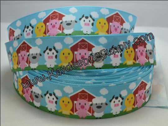 Baby Farm Animals - BLUE - 7/8 inch-baby, farm, animals, shower, pig, pigs, sheep, cow, cows, barn,