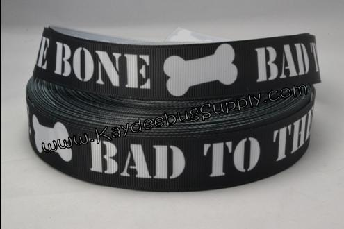Bad to the Bone - BLACK -  7/8 inch-bad to the bone, dog, pet, collar, leash,