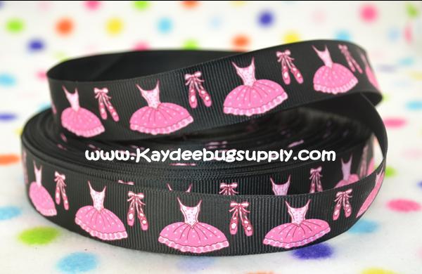 Ballet Dress & Slippers - Pink on Black  - 7/8 inch-dance, jazz, tap, ballet, ballerina, dress, shoes, slipper, shoe, slipper, pink, girly,