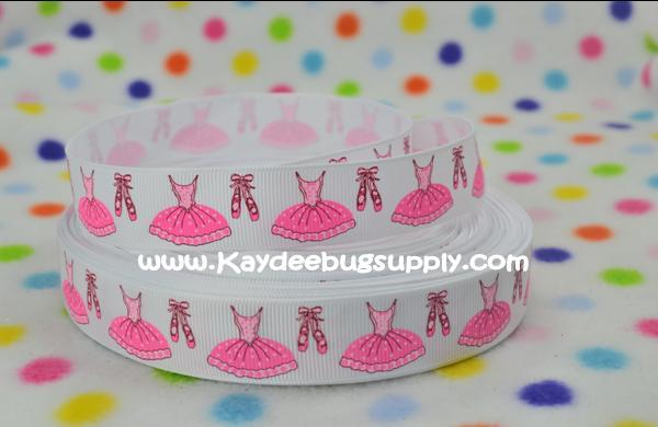 Ballet Dress & Slippers - Pink on WHITE - 7/8 inch-dance, jazz, tap, ballet, ballerina, dress, shoes, slipper, shoe, slipper, pink, girly,