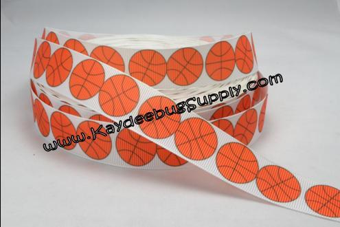 Basketballs on WHITE - 7/8 inch-sports, sports, basket, ball, balls, NCAA, wbca, WNBA, high, school, varsity, JV, NBA, basketball, basketballs, team, teams, collegiate, college, ribbon