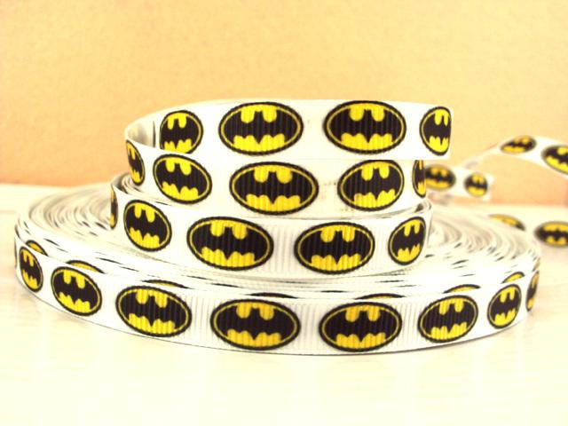 Batman Logo - White Background - 3/8 inch-batman, super, hero, superhero, bat, man, logo, joker, boys, boy, ribbon