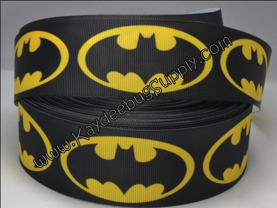 Batman - Black - 1.5 inch-batman, super, hero, superhero, bat, man, logo, joker, boys, boy, ribbon