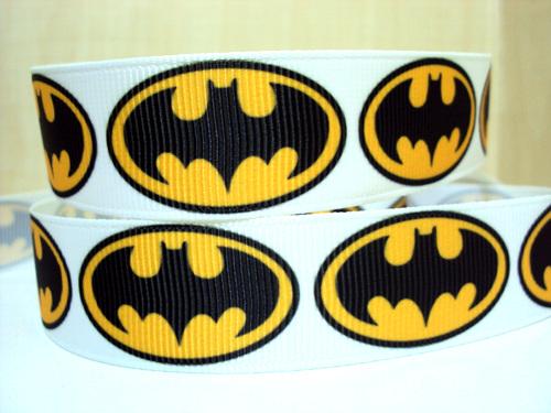 Batman Logo - White Background - 7/8 inch-batman, super, hero, superhero, bat, man, logo, joker, boys, boy, ribbon