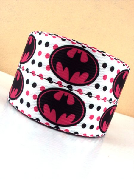 Batman Logo - PINK - 1.5 inch-batman, super, hero, superhero, bat, man, logo, joker, boy, ribbon, pink, girl, girly, batgirl