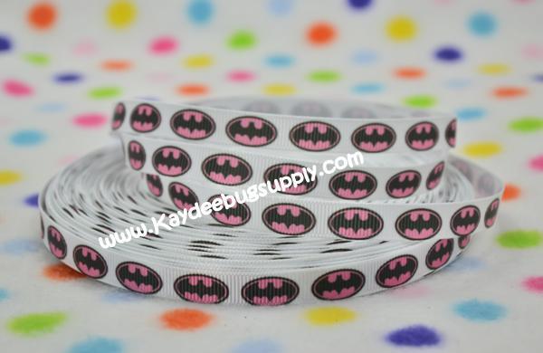 Batman Logo - PINK - 3/8 inch-batman, super, hero, superhero, bat, man, logo, joker, boy, ribbon, pink, girl, girly