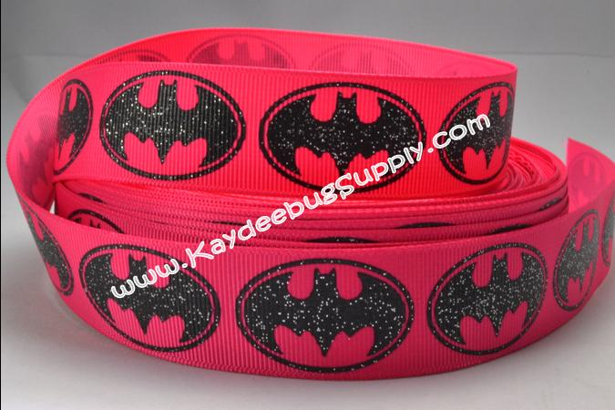 Batman Logo - PINK Glitter - 7/8 inch-batman, super, hero, superhero, bat, man, logo, joker, boy, ribbon, pink, girl, girly, glitter, batgirl, girl