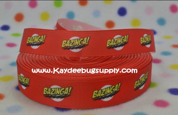 Bazinga - The Big Bang Theory - RED -  7/8 inch-bazinga, big bang theory, big, bang, theory, pranks, prank,