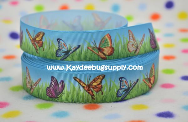 Butterflies in Grass - BLUE - 1 inch-girly, butterfly, butterflies, grass, summer, sky, spring, season, ,
