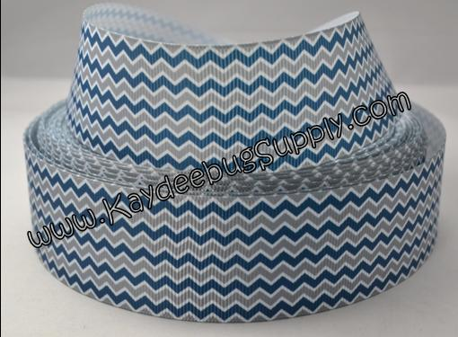 Chevron Horizontal - Blue & Grey - 1.5 inch-chevron, blue, grey, horizontal, dallas, cowboys, colt, colts, Indianapolis, seattle, seahawks, seahawk, penn, state,