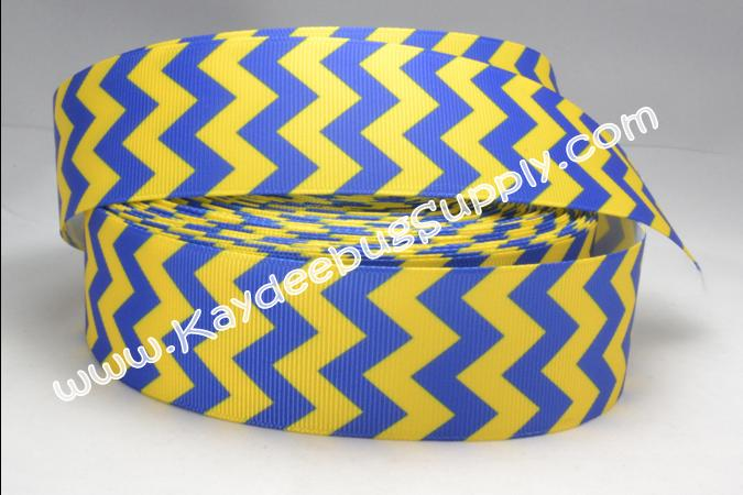 Chevron - Blue Yellow - 1.5 inch-chevron, zig, zag, blue, yellow, michigan, 38mm, west, virginia, mountaineers,