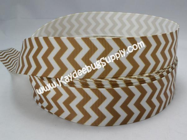 Chevron - Brown & White - 7/8 inch-chevron, zig, zag, gold, white, brown
