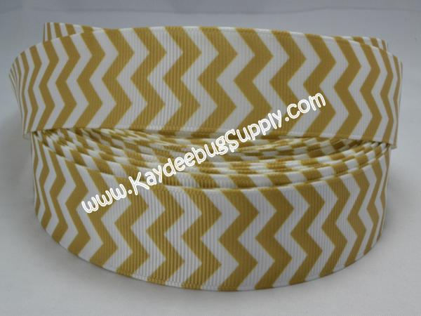 Chevron - Gold & White - 7/8 inch-chevron, zig, zag, gold, white, university, central, florida, college, collegiate, sports, team, teams, colleges, schools, school, knightro, gold, Knights of Pegasus, knights, pegasus