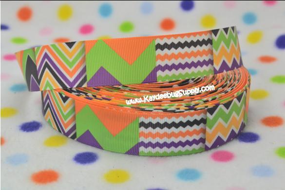Chevron - Orange Green Purple - BLOCK - 1 inch-chevron, halloween, fall,