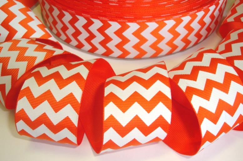 Chevron - Orange & White - 1.5 inch-chevron, orange, black, foot, ball, base, football, baseball, balls, ribbon, team, teams, sport, sports MLB, NBA, major, league, zig, zag, cincinnati, bengal, bengals, halloween, 38mm, thick, pumpkin, jack o lantern, san, francisco, giants, OSU, state, university, oklahoma, school, colors, pistol, pete, ohio, state, browns, dolphins, gators, pumpkin, bears, chicago,