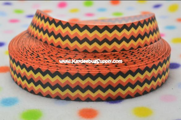 Chevron - Orange Black Yellow - Horizontal - 7/8 inch-chevron, halloween, fall, candy, corn