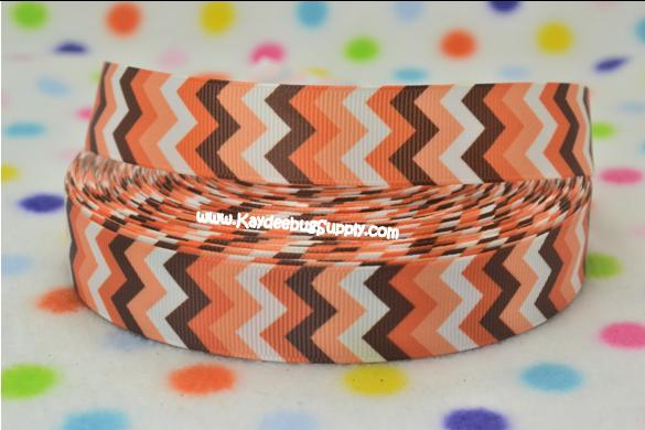 CHEVRON - Orange Brown White - 7/8 inch-seasons, holiday, fall, autumn, leaves, thanksgiving, chevron, brown, orange, white