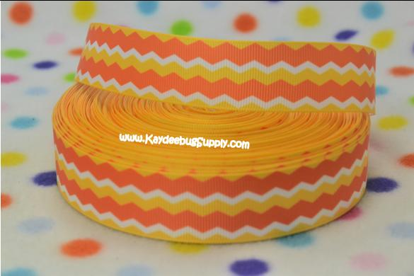 Chevron - Candy Corn - Orange Yellow White - Horizontal - 7/8 inch-chevron, halloween, fall, candy, corn