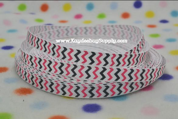 Chevron - Pink, Black & White - 3/8 inch-chevron, pink, white, girly, black, minnie, mouse