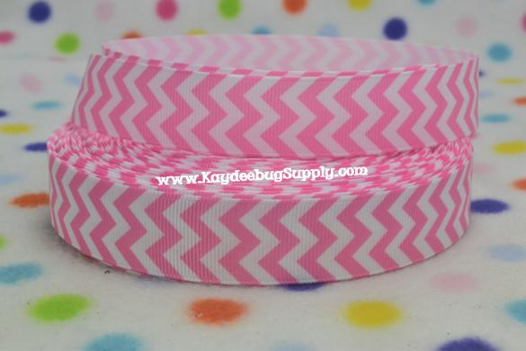 Chevron - Pink & White - 7/8 inch-chevron, pink, white, girly, breast, cancer, awareness