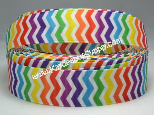 Chevron - Multicolor - Rainbow WHITE - 7/8 inch-chevron, rainbow, lgbt, lesbian, gay, multi, color, multicolor, zig, zag,