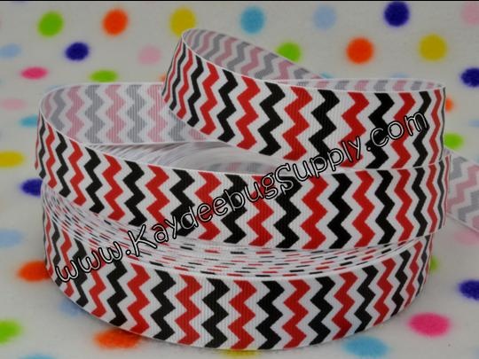 Chevron - Red Black White - 7/8 inch-chevron, zig, zag, black, red, white, michey, mouse, portland, trailblazers, trail, blazer, blazers, tampa, bay, buccaneers, buccaneer, houston, rockets, ribbon, georgia, bulldogs, mickey, chicago, bulls, bull, boston, red sox, red, sox,