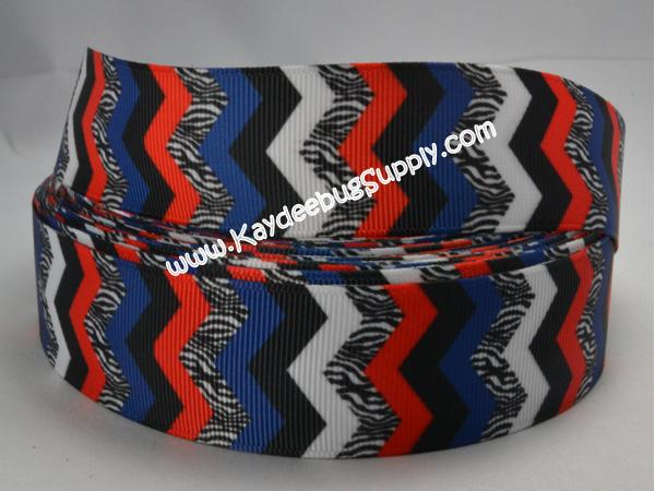 Chevron - Red Blue Black Zebra - 7/8 inch-chevron, zig, zag, red, blue, black, zebra, animal,