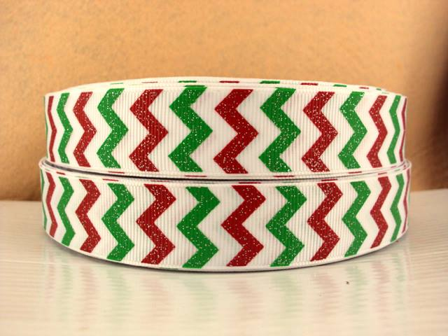 Chevron - Red, White, Green Glitter - 7/8 inch-chevron, red, green, white, christmas, holiday, santa, claus, foot, ball, base, football, baseball, balls, ribbon, team, teams, sport, sports MLB, NBA, major, league, zig, zag