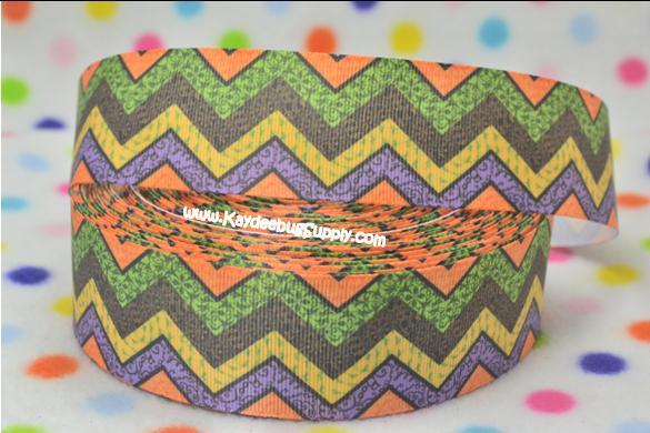 Chevron - Orange Green Purple Yellow - SWIRLS - 1.5 inch-chevron, halloween, fall,