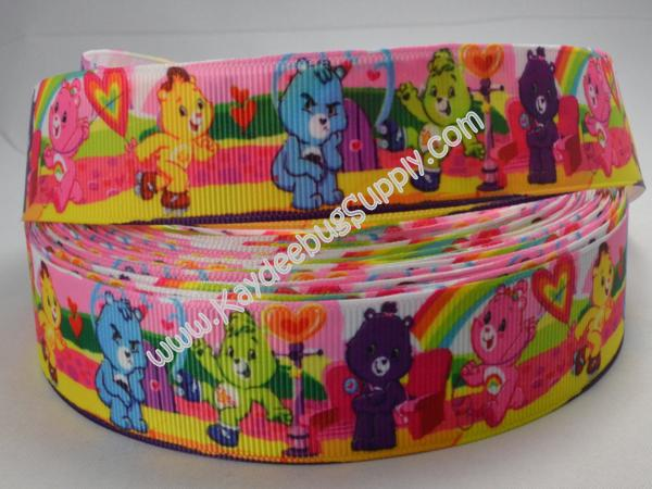 Care Bears - Pink Green Stripe -  1 inch-care, bear, bears, carebear, carebears, teddy,