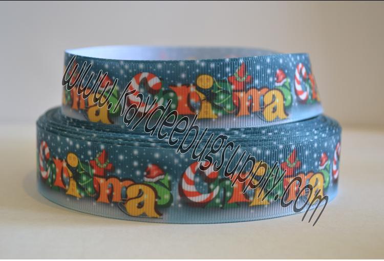 Merry Christmas - BLUE - 1 inch-christmas, xmas, holiday, santa, claus, st nick, nick, snow, winter, ribbon